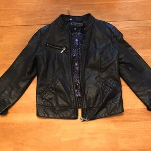 3/4 Sleeve Black Leather Jacket